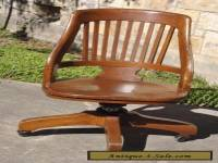 Vintage Milwaukee Chair Co Antique Oak Wood Swivel Desk Office Lawyer Chair