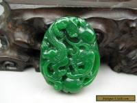 Antique Chinese Hand-carved aristocratic wearing Jadeite jade pendant Dragon b03