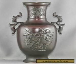 Magnificent Antique Chinese Gilded Solid Bronze Double Dragon Vase Circa 1800s for Sale