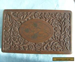 Antique hand carved inlaid wooden box for Sale