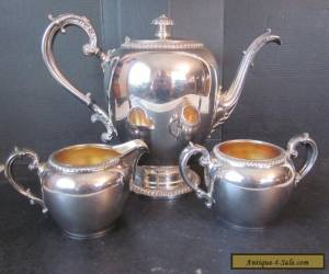 Vtg Reed & Barton EPNS Silverplate Tea Coffee Set Lidded Pot w Sugar Creamer USA for Sale