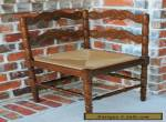Antique French Oak Small Ladder Back Farmhouse Corner Chair Rush Seat (2 of 2) for Sale
