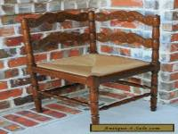 Antique French Oak Small Ladder Back Farmhouse Corner Chair Rush Seat (2 of 2)