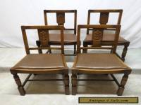 Antique Set 4 Art Deco Carved Golden Oak Dining Room Kitchen Pub Chairs Dinette