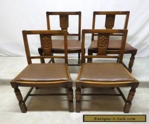 Antique Set 4 Art Deco Carved Golden Oak Dining Room Kitchen Pub Chairs Dinette for Sale