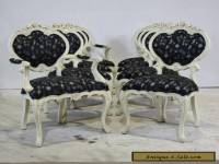 Set of 8 Rococo style traditional dining chairs mahogany wood