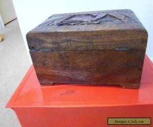 ANTIQUE WOOD DEED BOX.  ART CARVING 12IN LONG BOX for Sale