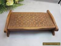 Vtg hand carved wood box with 2 compartments.