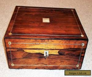 VICTORIAN ROSEWOOD VENEER SEWING/JEWELLERY BOX,M.O.P.PEWTER STRINGING,RED INT'R. for Sale