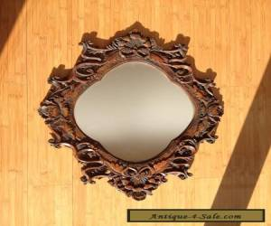 Antique Ornal Hanging Wood Wall Mirror for Sale