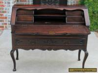 Antique French Louis XV Style DARK Oak Fall Front Writing Desk Bureau Secretary