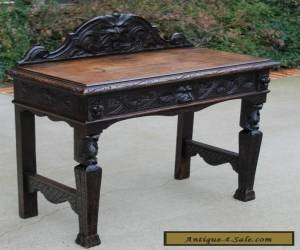 Antique English Dark Oak GOTHIC Sofa Entry Foyer Hall Table Desk w Drawer  for Sale