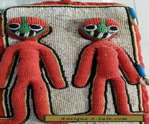 """Vintage African Yoruba Beaded Diviner Sash Panel from Nigeria 49"""" Long for Sale"""