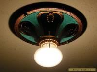 Vintage Art Deco H.P. Inc Cast Aluminum Ceiling Light Fixture Restored