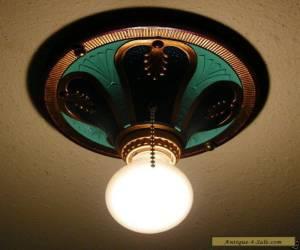 Vintage Art Deco H.P. Inc Cast Aluminum Ceiling Light Fixture Restored for Sale