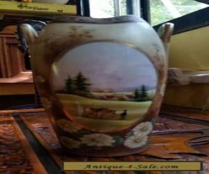 Gorgeous large vintage IE&CO landscape vase Japan Nippon Era Rare Design for Sale