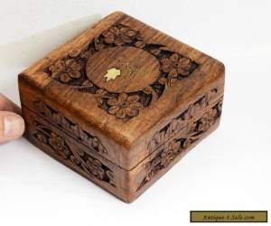 Delightful Small Vintage Carved Wooden Box with Hinged Lid & Inlaid Brass Design for Sale