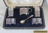 Antique silver condiments set. Salt, pepper, mustard etc. Boxed. for Sale