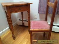 antique child's writing desk with draw and chair