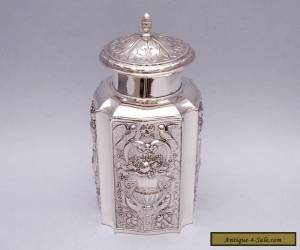 BEAUTIFUL SOLID SILVER REPOUSSE TEA CADDY for Sale