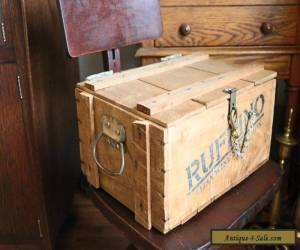Vintage Wooden Wine Crate Box with Handles, Latch and Chain for Sale