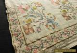 Antique OTTOMAN Turkish SILK EMBROIDERY TOWEL Yaglik METALLIC ACCENTS 19x50 for Sale