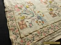 Antique OTTOMAN Turkish SILK EMBROIDERY TOWEL Yaglik METALLIC ACCENTS 19x50