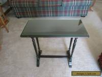 Vintage Knoxville Wood Side Table w Glass Top