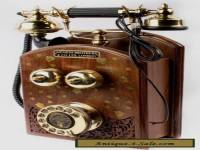 beautiful vintage phone antique wall telephone brass wooden carving art TP 013