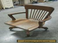 Antique/Vintage Oak Wood wooden rolling Slat tilt  Swivel Desk Office Arm Chair