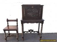 Victorian Carved Solid Oak Telephone Table and Chair with Spindle Legs 7457