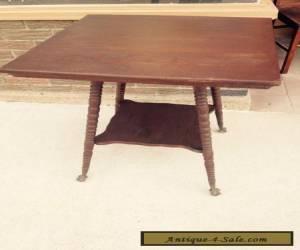 Vintage Antique Oak Wood Parlor Table Brass Ball Feet for Sale