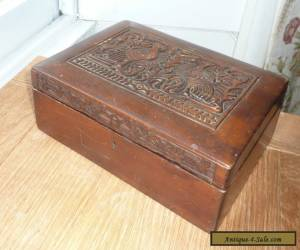 ANTIQUE / VINTAGE WOODEN TABLE / JEWELLERY BOX WITH CARVED BIRDS DETAIL.  for Sale