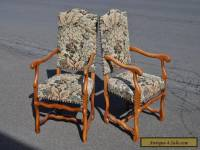 Pair Of Baroque Style Arm Chairs With Tapestry Fabric