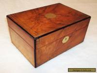 VICTORIAN WALNUT VENEER SEWING/JEWELLERY BOX,BRASS FITTINGS,RED LINED INTERIOR.