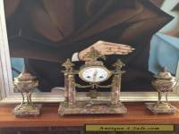French Louis Xvi Marble Clock Set Garnitures Pendule Cassolettes urns violette