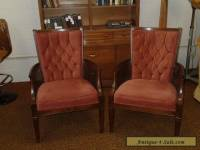 PAIR OF MID-CENTURY HOLLYWOOD REGENCY CANED TUFTED SIDE CHAIRS