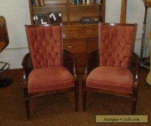 PAIR OF MID-CENTURY HOLLYWOOD REGENCY CANED TUFTED SIDE CHAIRS  for Sale