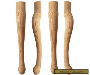 Set of 4 Unfinished Solid Oak Queen Anne Style Table Legs for Sale