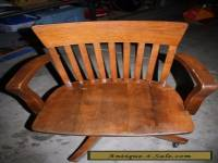 Antique Oak Wood Swivel Office Desk Chair