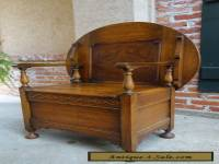 Antique English Carved Tiger Oak Monk's Bench Chair Chest Table Jacobean
