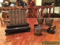An Antique Chinese Pewter Teapot and Three Cups, Marked.