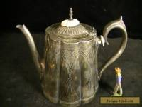 Antique Silver Plate Victorian Teapot with Scalloped and Engraved Design