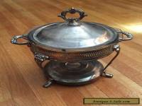 Vintage Sheffield Silver Plate Chafing Dish Casserole