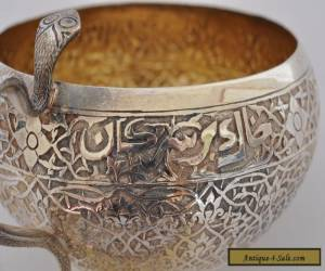 ANTIQUE INDIAN SILVER COBRA HANDLE BOWL WITH RARE ARABIC INSCRIPTION for Sale
