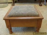 Antique Wooden Foot Stool Rest Ottoman Mahogany Vintage Refurbished Nice