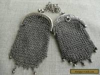 Antique silver mesh purses both with internal divided pouches