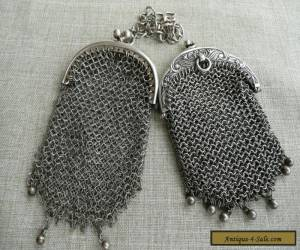 Antique silver mesh purses both with internal divided pouches for Sale