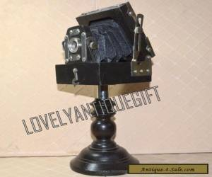 Collectible Awesome Antique Vintage Brass Stylish Wooden CAMERA With Stand for Sale
