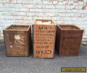 Vintage Industrial Tea Trunk Chest Storage Box Table Wooden Ceylon India for Sale